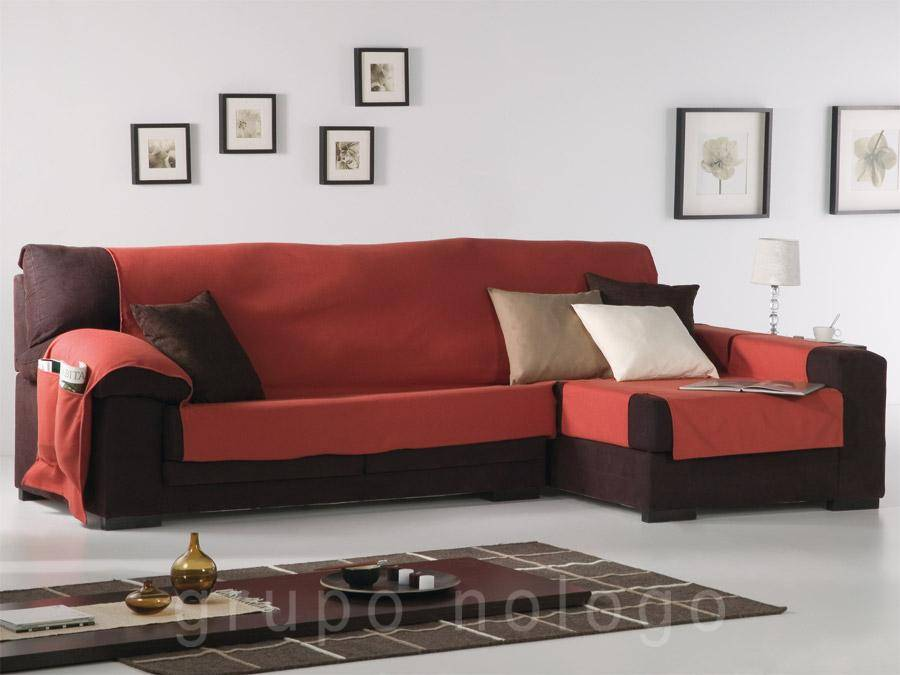 Funda de sof chaise longue lona liso comprar funda de - Funda para sofa chaise longue ...