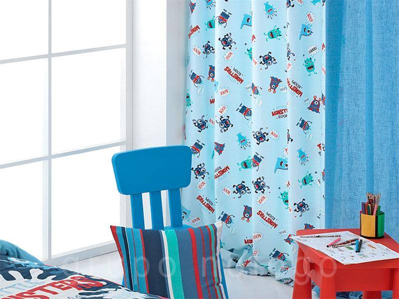 Cortinas infantiles con ollaos Monsters