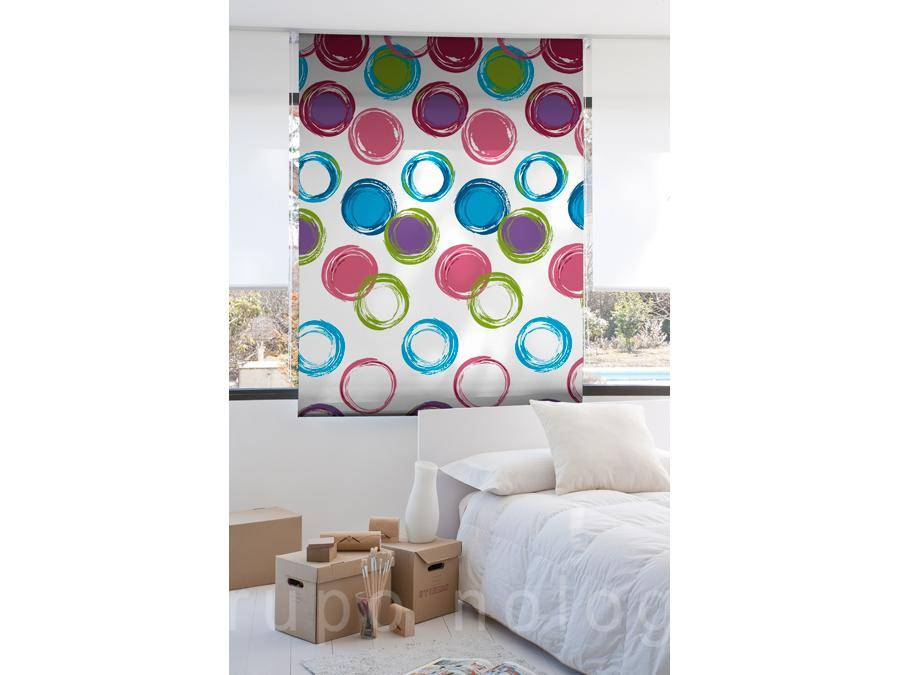 Cortinas enrollables Circles Blue